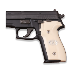 Sig Sauer P228 / P229 Model Compatible Ivory Acrylic Grip for Replacement (with Silver Logo)