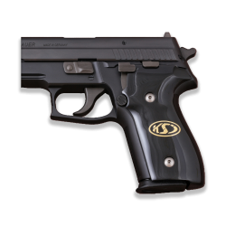 Sig Sauer P228 / P229 Model Compatible Black Acrylic Grip for Replacement, (with Logo on Brass Material)