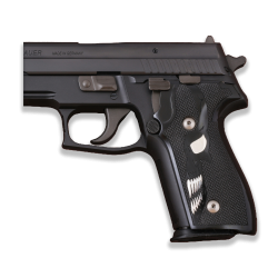 Sig Sauer P228 / P229 Model Compatible Black Acrylic Grip for Replacement (with Skull Relief)