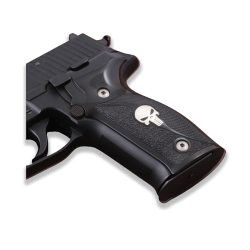 Sig Sauer P226 Model Compatible Black Acrylic Grip for Replacement (Half Pattern, Silver Skeleton Figure)