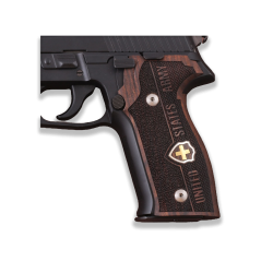 Sig Sauer P226 Model Compatible Black Acrylic Grip for Replacement (Swiss Cross on Brass)