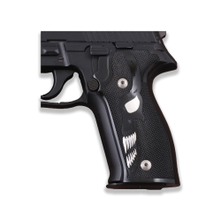 Sig Sauer P226 Model Compatible Black Acrylic Grip for Replacement (with Skeleton Relief, Silver)