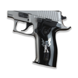 Sig Sauer P226 Model Compatible Acrylic Black (with Silver Figure) Grip for Replacement