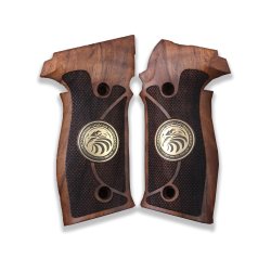 Sig Sauer P230 P232 Model Compatible Walnut Grip for Replacement with Diamond Checkered Pattern & Figure on Brass