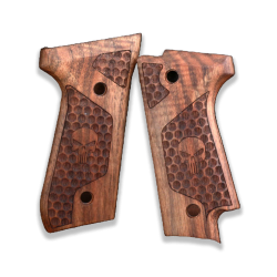 Beretta 92 S Model Compatible Walnut Grip for Replacement (with Skull)