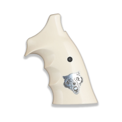 Smith Wesson K / L Frame Roundbutt Model Compatible Ivory Acrylic, Silver Grip For Replacement