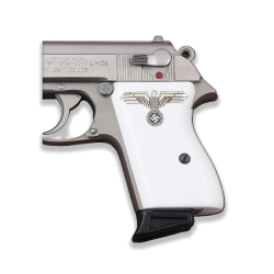 Walther PPK American (Interarms) Made Compatible White Acrylic Grip for Replacement (with Silver Logo)