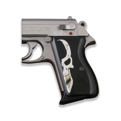 Walther PPK American (Interarms) Made Compatible Black Acrylic Grip for Replacement (Silver Skeleton)
