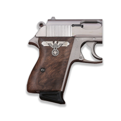 Walther PPK American (Interarms) Made Model Compatible Root Walnut, Silver Grip for Replacement