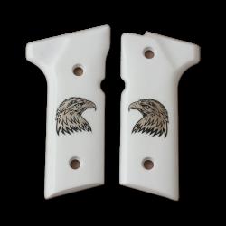 Beretta 92 Vertec / 96 Vertec / M9A3 Model Compatible White Acrylic, Silver Grip for Replacement