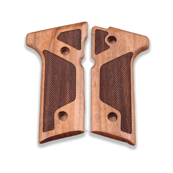 Beretta 92 Vertec / 96 Vertec / M9A3 Model Compatible Walnut Grip for Replacement (with Diamond Checkered Pattern)