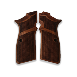 Browning High Power MK3 Model Compatible Walnut Grip for Replacement (wiith Diamond Checkered Pattern)