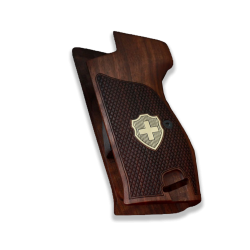 SIG P210 Heavy Frame P210-5 / P210-6 (with lanyard ring) Compatible Wanut Grip for Replacement, (with Silver Logo)