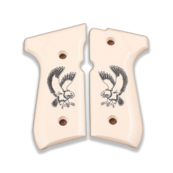 Beretta 92/96/98/M9 Full Size Model Compatible Ivory Acrylic Grip for Replacement