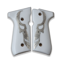 Beretta 92/96/98/M9 Full Size Model Compatible White Acrylic, Silver Grip for Replacement