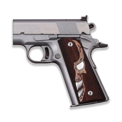 Sig Sauer 1911 1911 FIT Model Les Baer, Nowlin, Springfield, Kimber - Compatible Walnut Grip for Replacement, with Skull